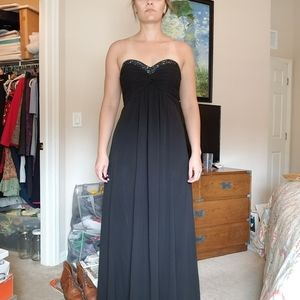 David's Bridal Black Beaded Strapless Maxi Dress